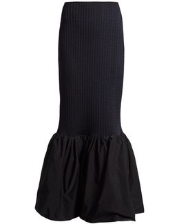Fluted-hem Ribbed-knit Skirt