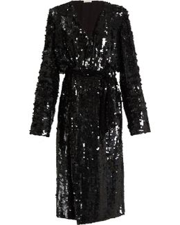 Dara Sequin-embellished Wrap Dress