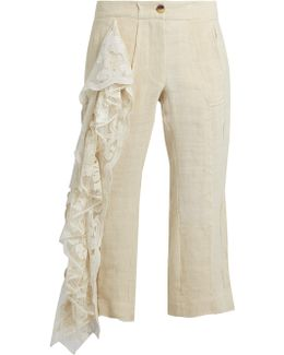 19th-century Lace-panel Linen Cropped Trousers