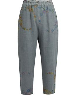 Morton Floral-embroidered Linen Cropped Trousers