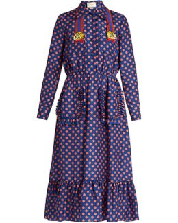 Polka-dot Print Silk Dress