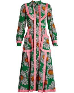Daisy-print Silk Crepe De Chine Midi Dress