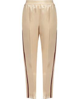 Web-striped Duchess-satin Trousers