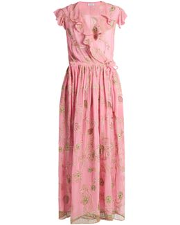 Floral-embroidered Silk-georgette Wrap Dress