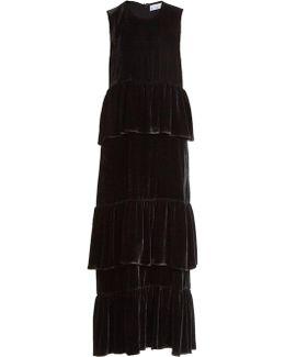 Tiered Ruffled Velvet Dress