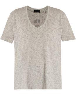 Deep V-neck Cotton-blend T-shirt