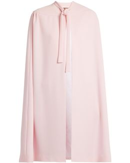 Neck-tie Silk-blend Crepe Cape