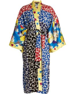 Nina Contrast-panel Silk And Crepe Kimono Dress