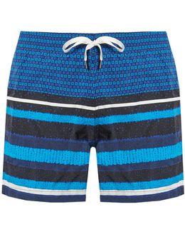 Square And Striped-print Swim Shorts