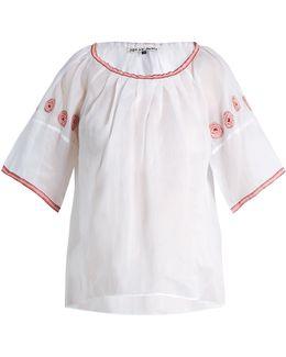 Sazerac Embroidered Cotton-organdy Top