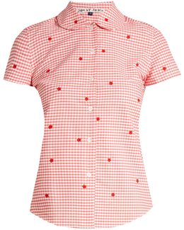 Chur Floral-embroidered Gingham Cotton Shirt