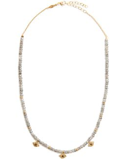 Diamond, Labradorite & Yellow-gold Necklace