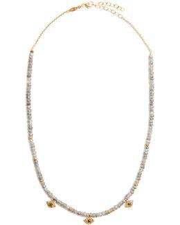 Diamond, Labradorite & Yellow-gold Necklace