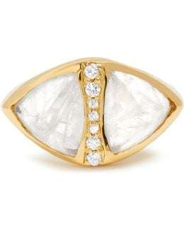 Diamond, Moonstone & Yellow-gold Ring