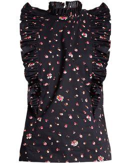 Mia Floral-print Ruffled-collar Cotton Top