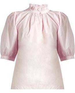 Ruffled-collar Cotton-poplin Top