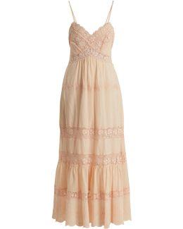 Macramé-lace Panelled Cotton Dress