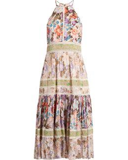 Floral-print Halterneck Cotton-blend Dress