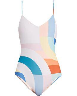 Meridan-print Scoop-back Swimsuit