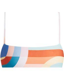 Meridan-print Cropped Cami Bikini Top