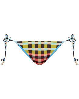 Plaid Mustard-print Tie-side Bikini Briefs