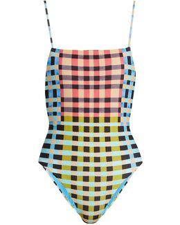 Plaid Mustard-print High-leg Swimsuit