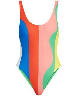 Beach Ball-print High-cut Swimsuit