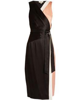 Colour-block Satin Wrap Dress