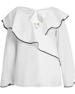 Fluted-lapel Wrap Cotton Blouse