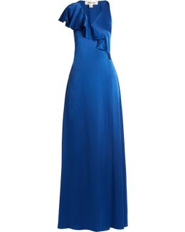 Ruffled Satin Wrap Gown