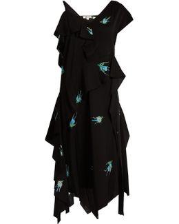 Swallow-print Stretch-silk Dress