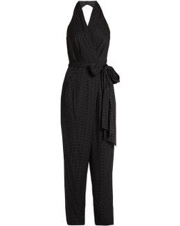 Polka-dot Silk-blend Wrap Jumpsuit