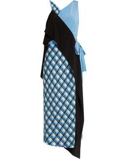 Contrast-panel Checked Stretch-silk Dress