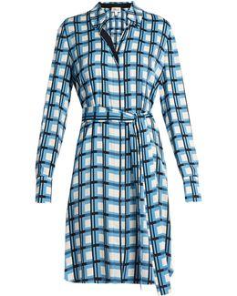 Blue Checked Silk Blend Shirt Dress - Size 8