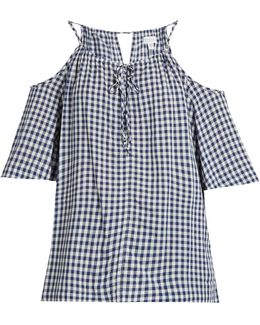 Nedra Cut-out Shoulder Gingham Top
