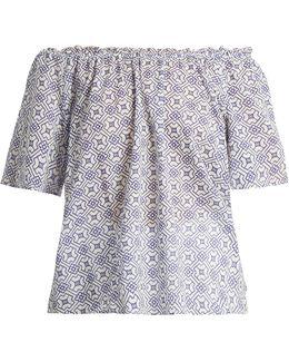 Bertie Off-the-shoulder Geometric-print Cotton Top