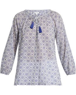 Hollie Geometric-print Cotton Top