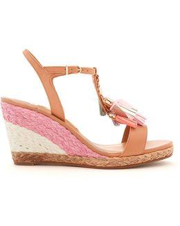 Lucita Tassel-embellished Leather Wedge Sandals