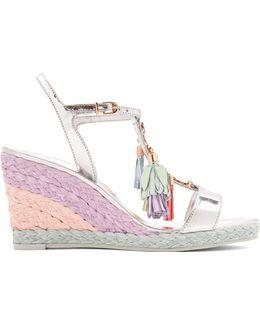 Lucita Tassel Leather Wedge Sandals