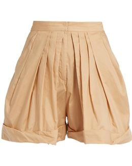 Pleated-front Cotton Shorts