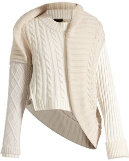 Contrasting-knit Cashmere Sweater