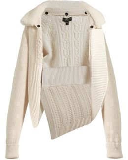 Shearling-collar Wool And Cashmere-blend Cardigan