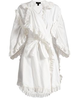 Ruffled Broderie-anglaise Cotton Wrap Dress