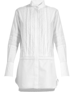 Lace-trimmed Bib-front Cotton Shirtdress