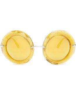 Round-frame Glitter-acetate Sunglasses