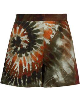 Tie-dye Cotton-blend Gabardine Shorts