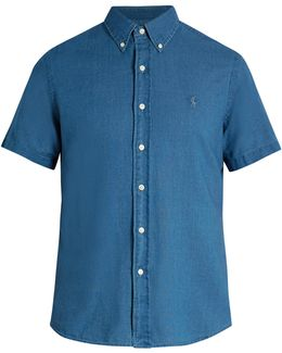 Logo-embroidered Short-sleeved Chambray Shirt