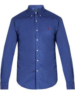 Button-down Collar Logo-embroidered Cotton Shirt