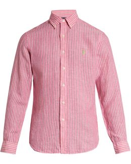 Logo-embroidered Striped Linen Shirt