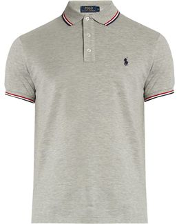 Slim-fit Striped-collar Cotton-piqué Polo Shirt